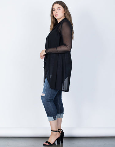 Plus Size Flowy Sheer Cardigan - 2020AVE