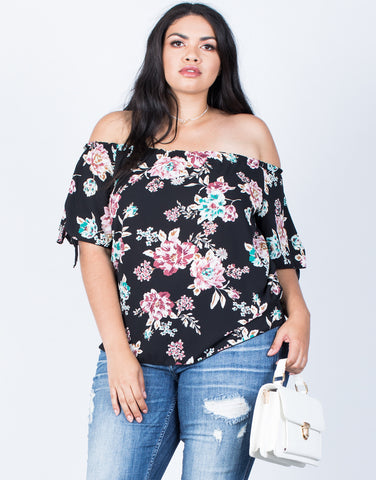 Front View of Plus Size Fresh Blossoming Top