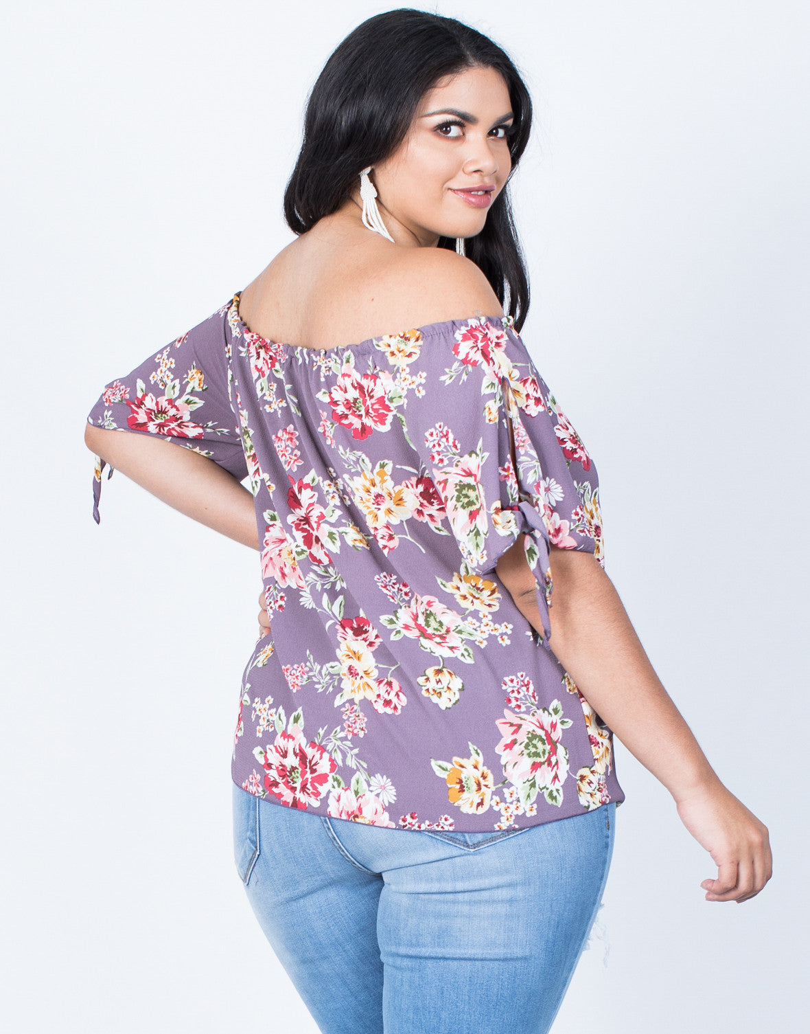 Back View of Plus Size Fresh Blossoming Top