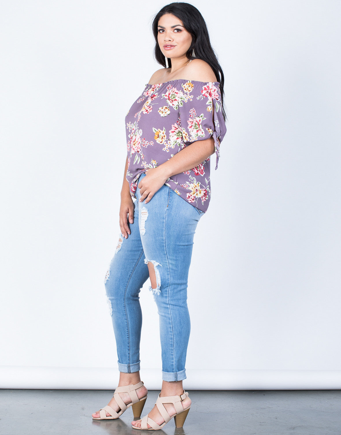 Side View of Plus Size Fresh Blossoming Top