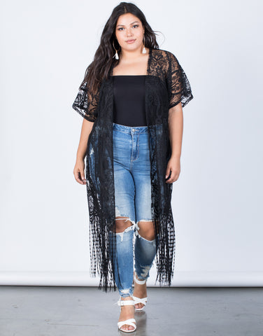Black Plus Size Fringe Nights Cardigan - Front View