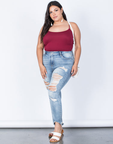 Light Blue Denim Plus Size Fun Frayed Jeans - Front View
