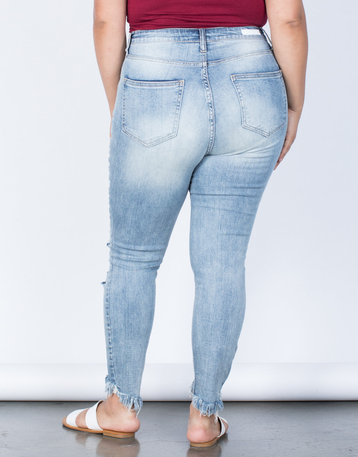 Light Blue Denim Plus Size Fun Frayed Jeans - Back View