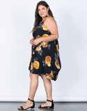 Black Plus Size Golden Roses Dress - Side View