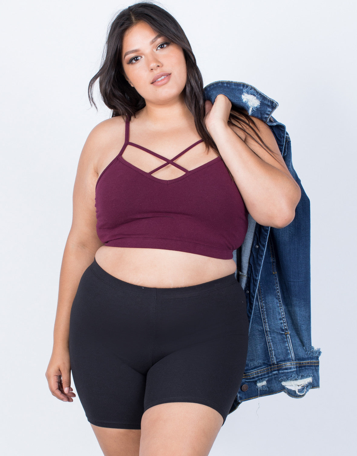 Black Plus Size Gym Time Shorts - Front View