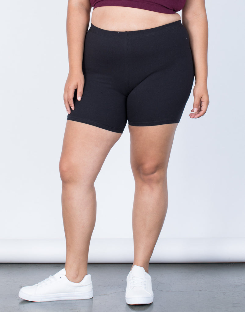 Black Plus Size Gym Time Shorts - Front Detail