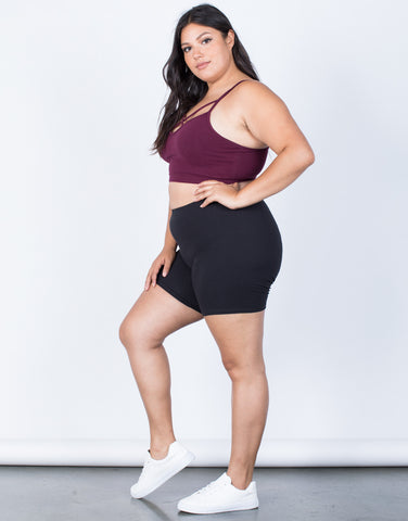 Black Plus Size Gym Time Shorts - Side View