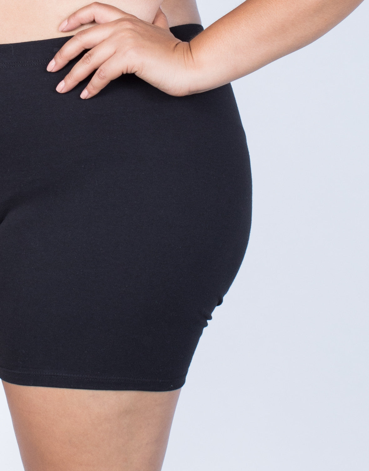 Black Plus Size Gym Time Shorts - Detail