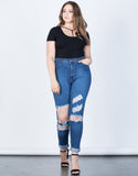 Plus Size High Waisted Cuffed Denim Jeans - 2020AVE