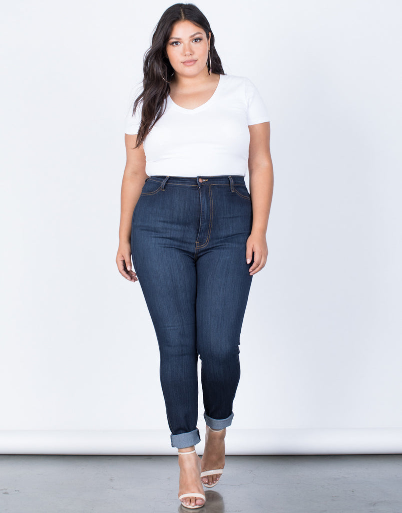 Dark Blue Denim Plus Size High Waisted Skinny Jeans - Front View