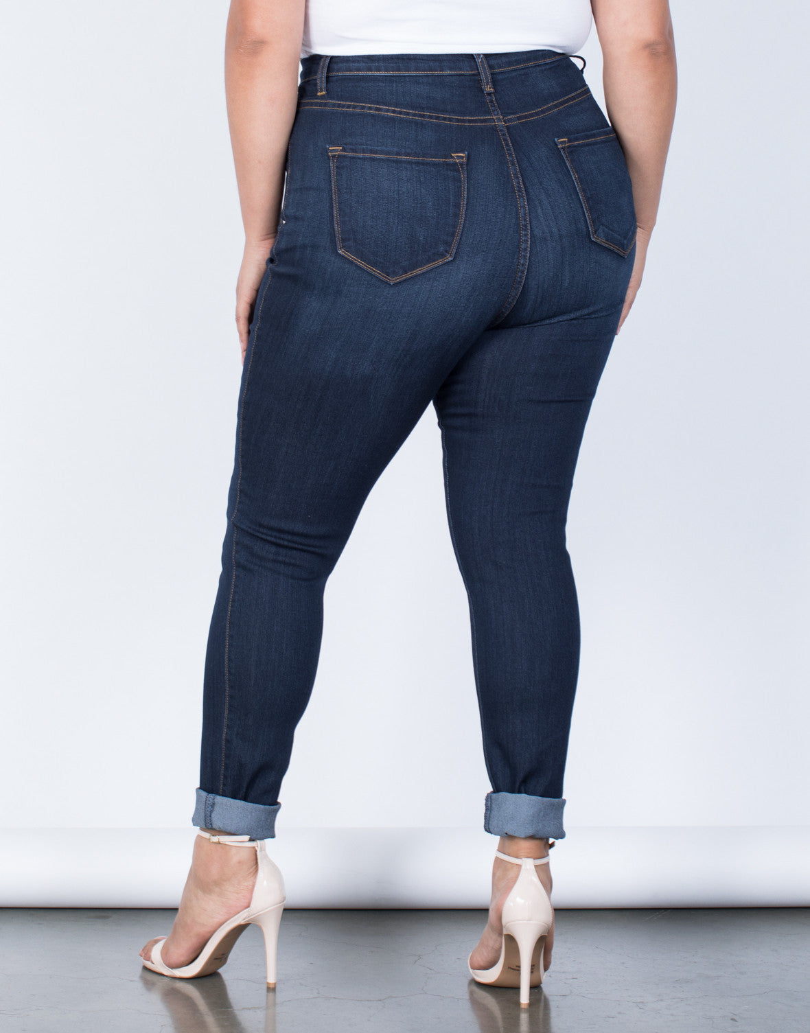 Dark Blue Denim Plus Size High Waisted Skinny Jeans - Back View