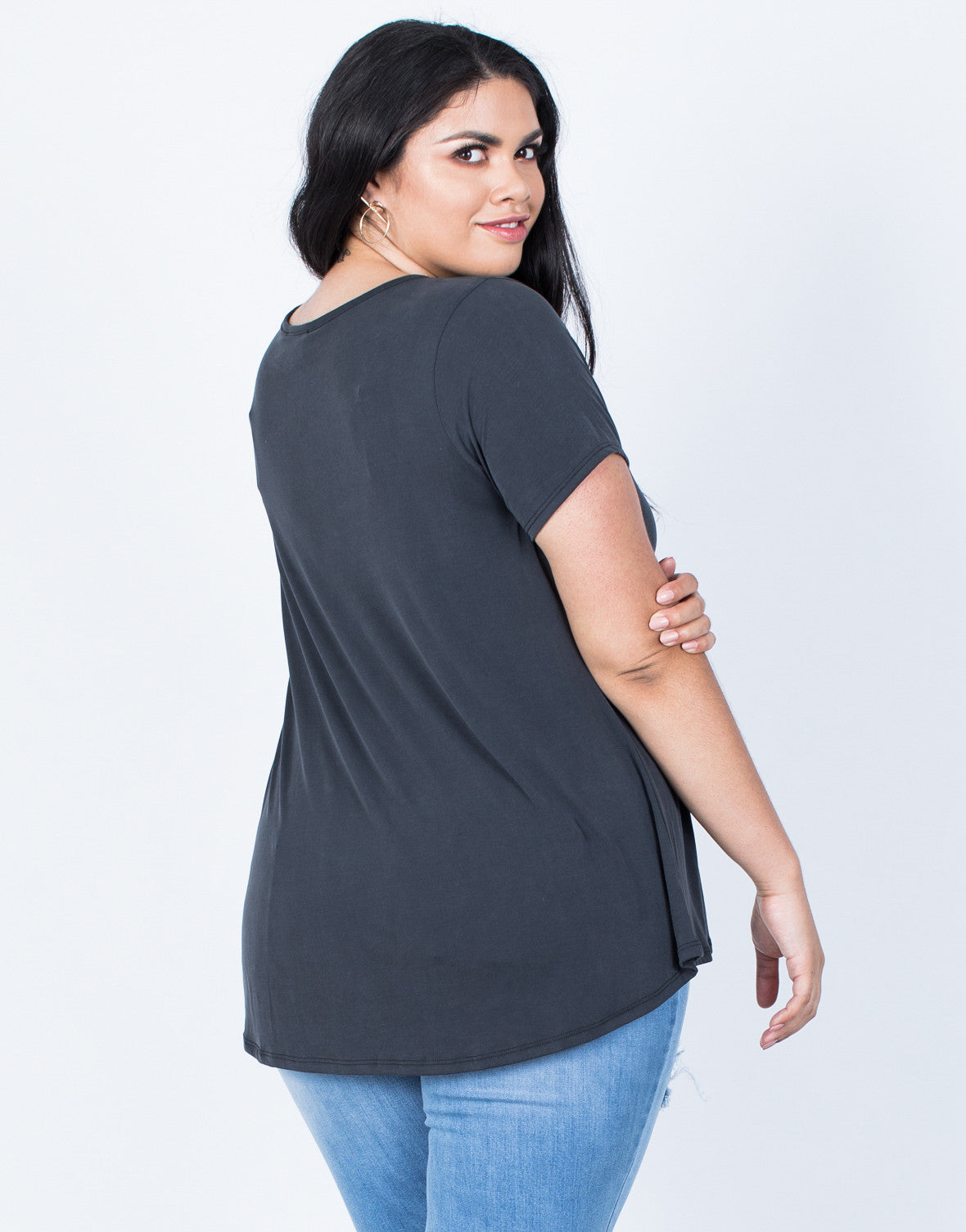 Back View of Plus Size Hold on You Tee