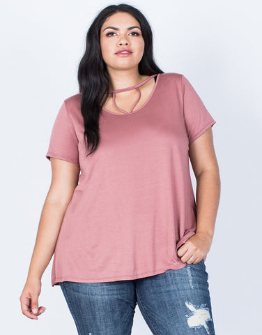 Front View of Plus Size Hold on You Tee