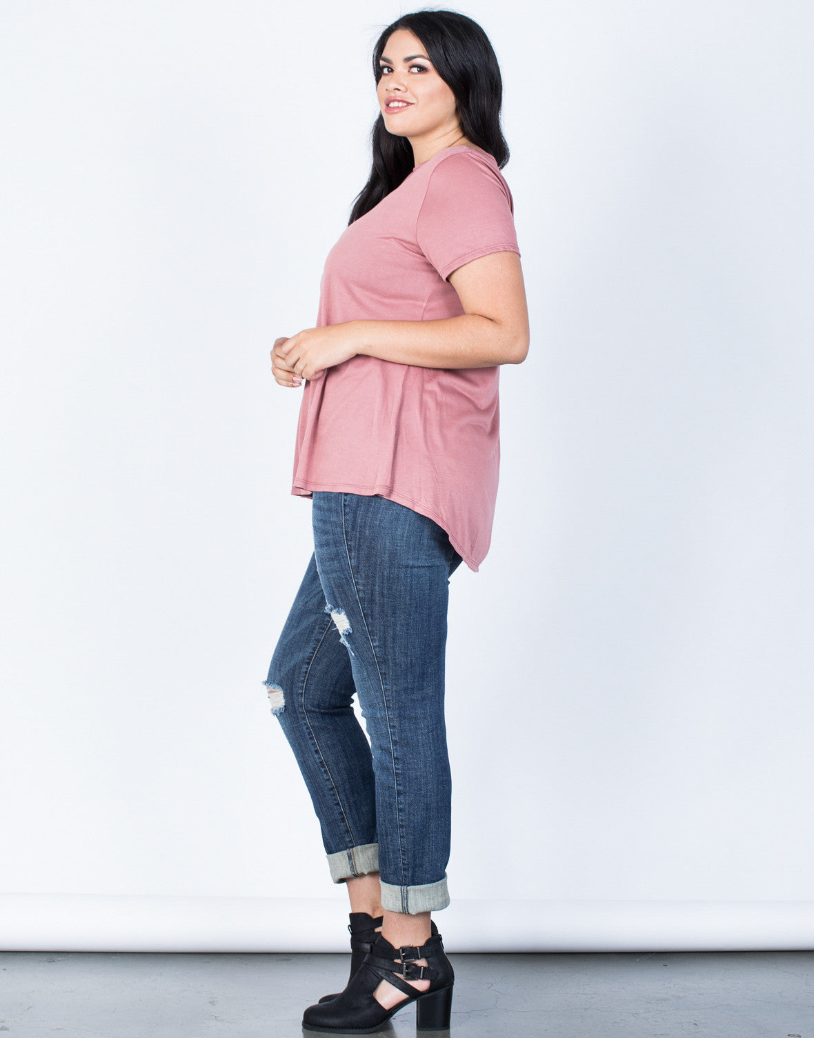 Side View of Plus Size Hold on You Tee