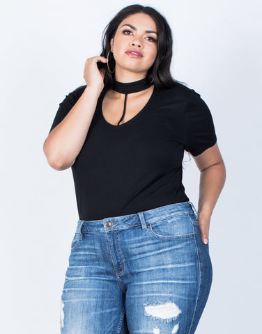 Front View of Plus Size Hold Tight Basic Tee