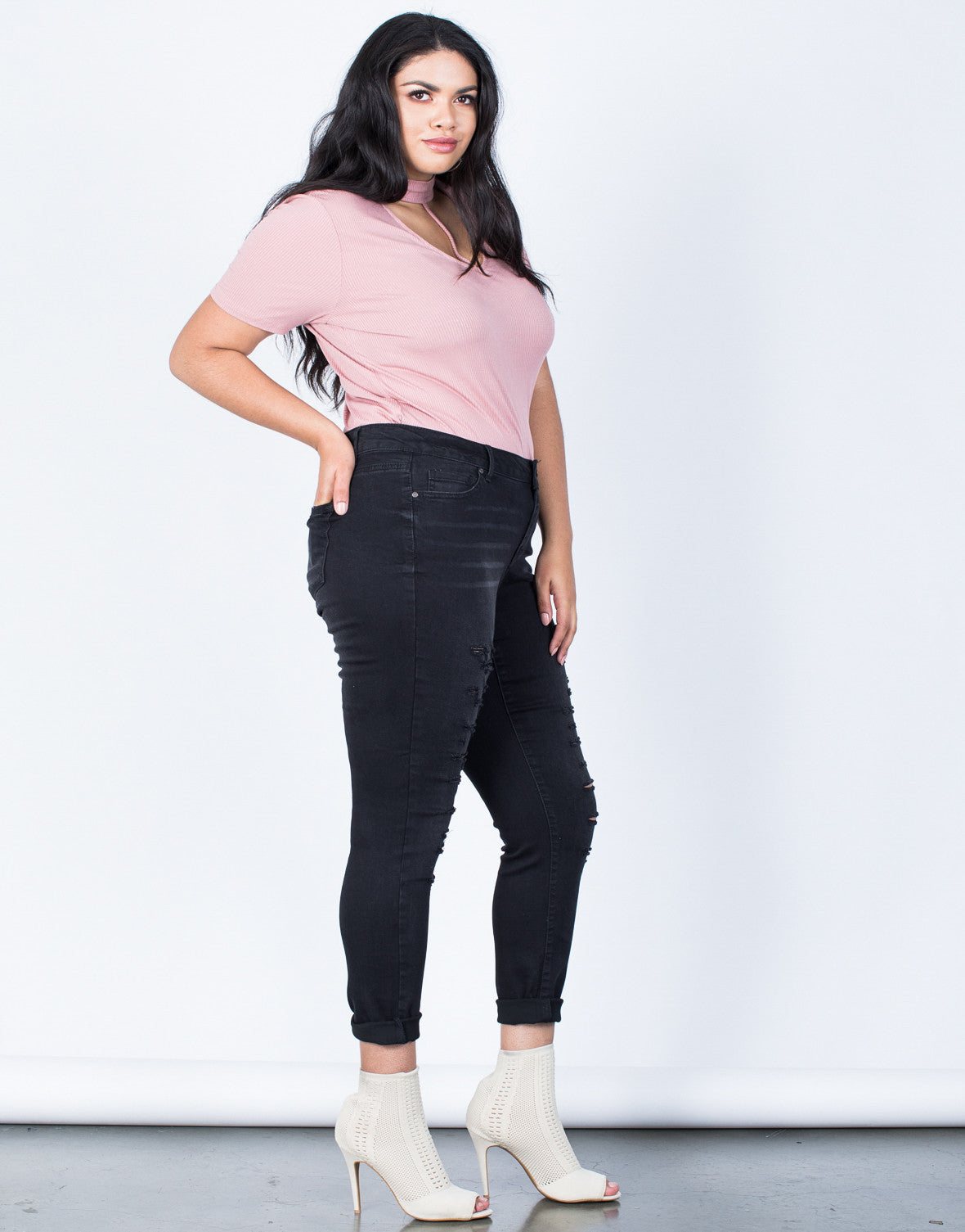 Side View of Plus Size Hold Tight Basic Tee