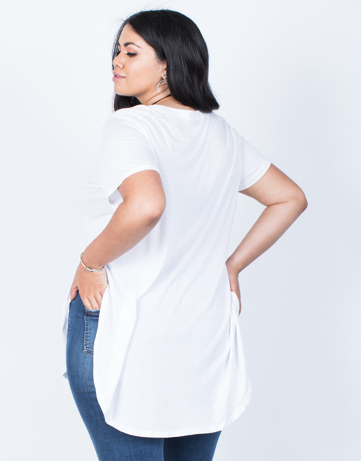 Back View of Plus Size Jamie Slit Tee