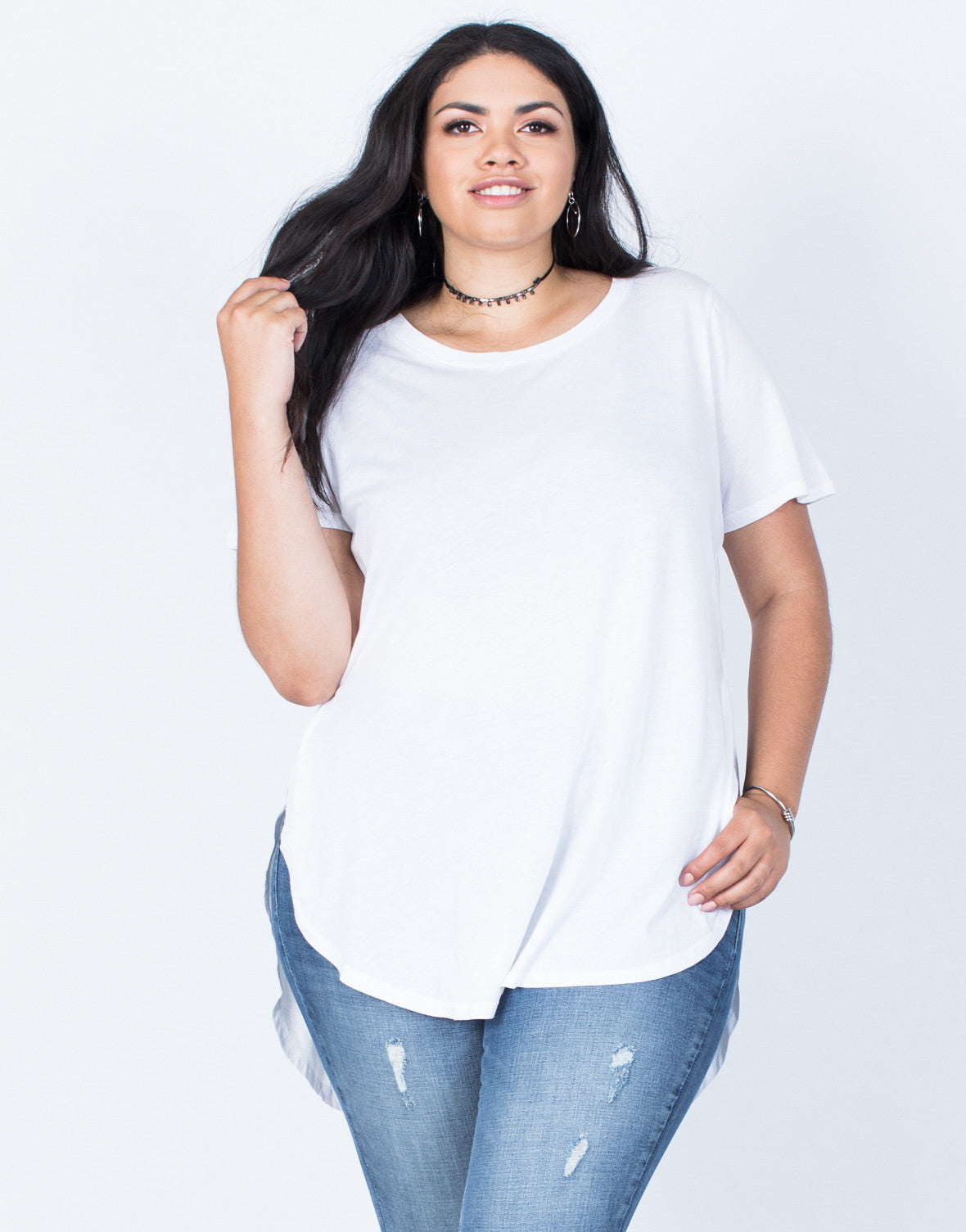 Front View of Plus Size Jamie Slit Tee
