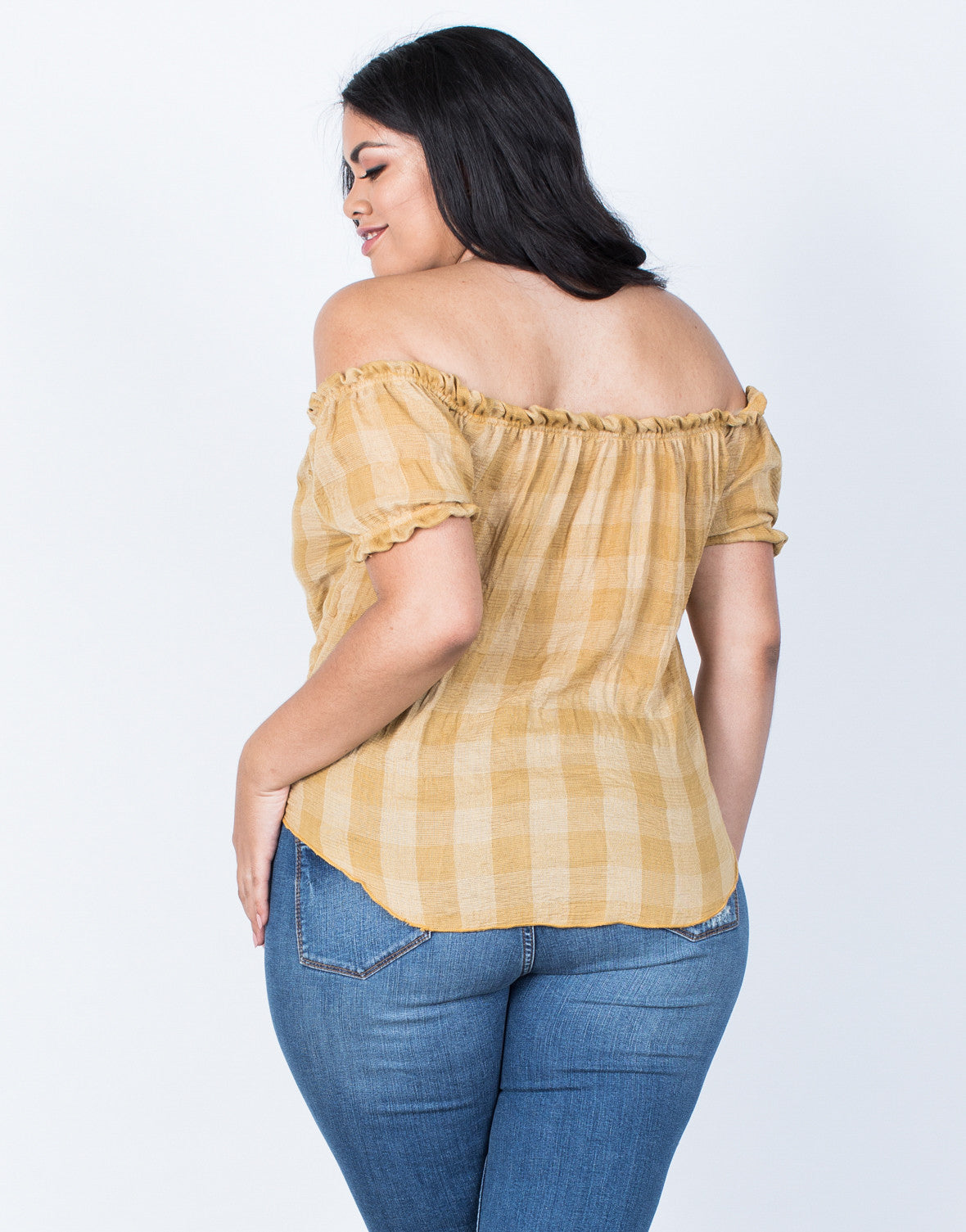 Back View of Plus Size Jenna Checkered Top