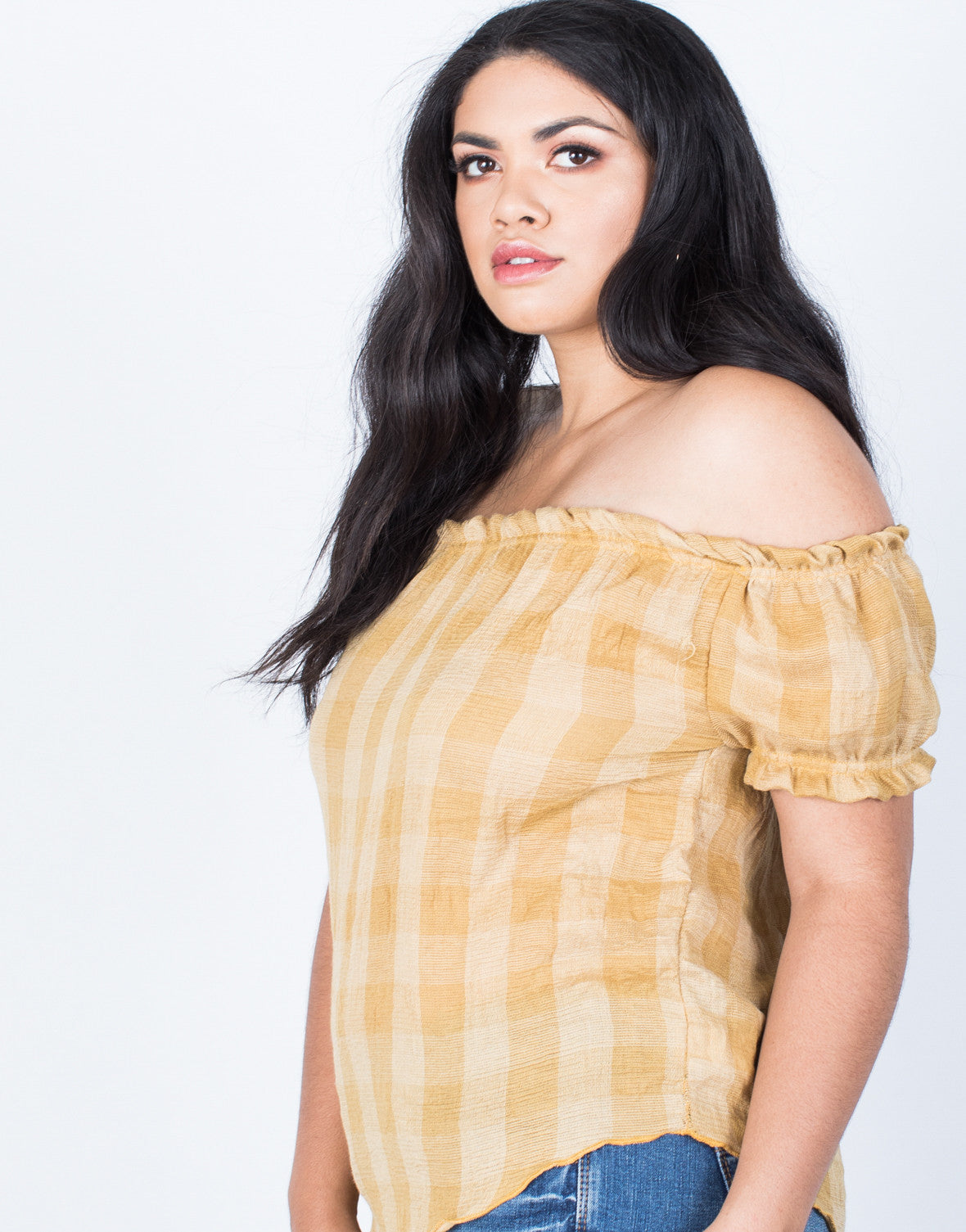 Detail of Plus Size Jenna Checkered Top