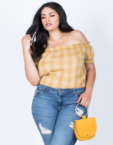 Front View of Plus Size Jenna Checkered Top