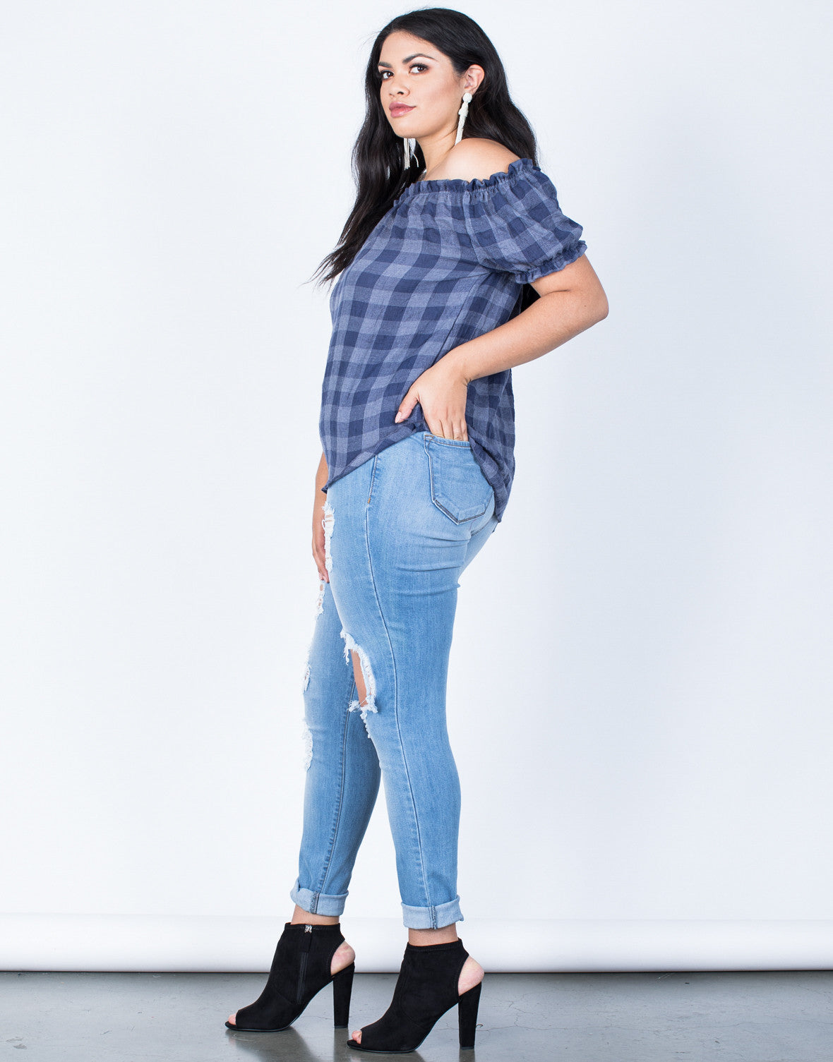 Side View of Plus Size Jenna Checkered Top