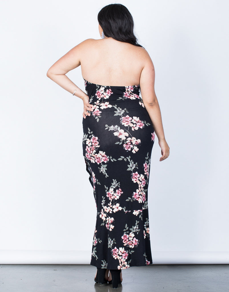 Back View of Plus Size Julie Floral Maxi Dress