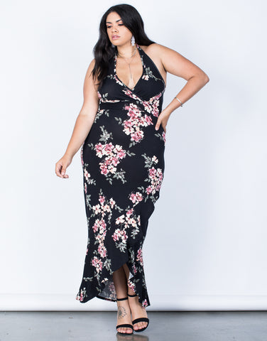 Front View of Plus Size Julie Floral Maxi Dress