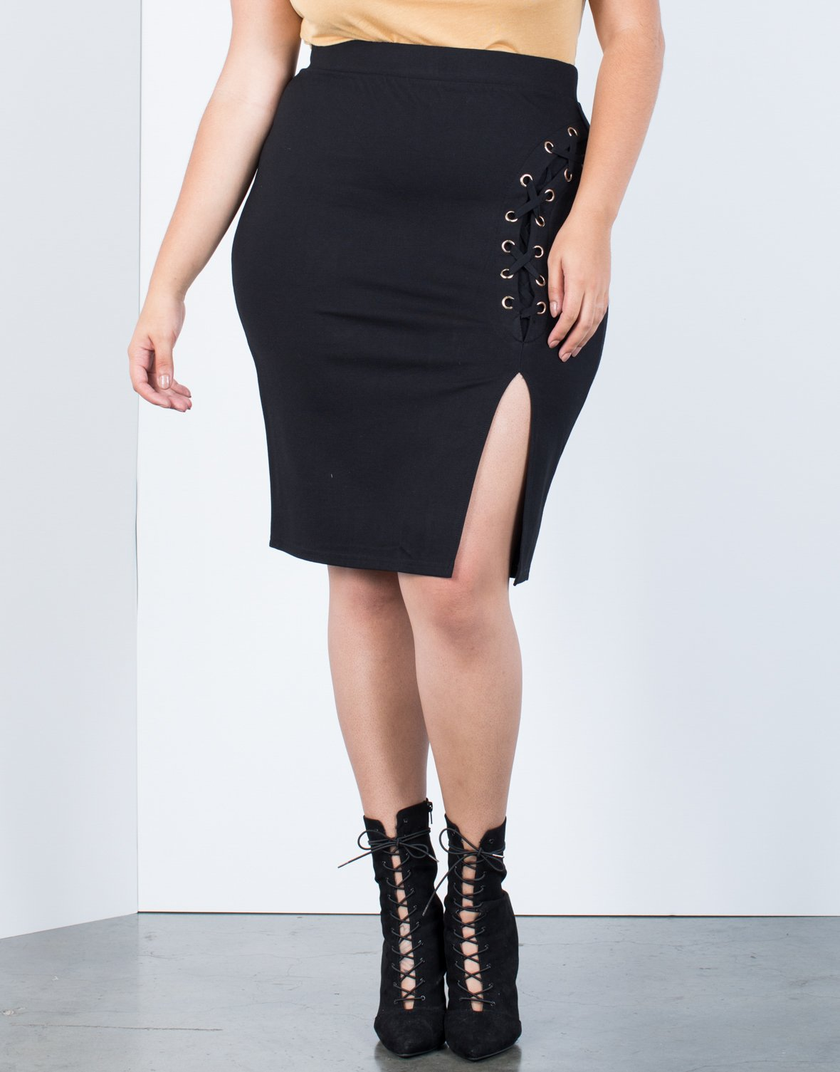 Plus Size Laced Out Bodycon Skirt - 2020AVE