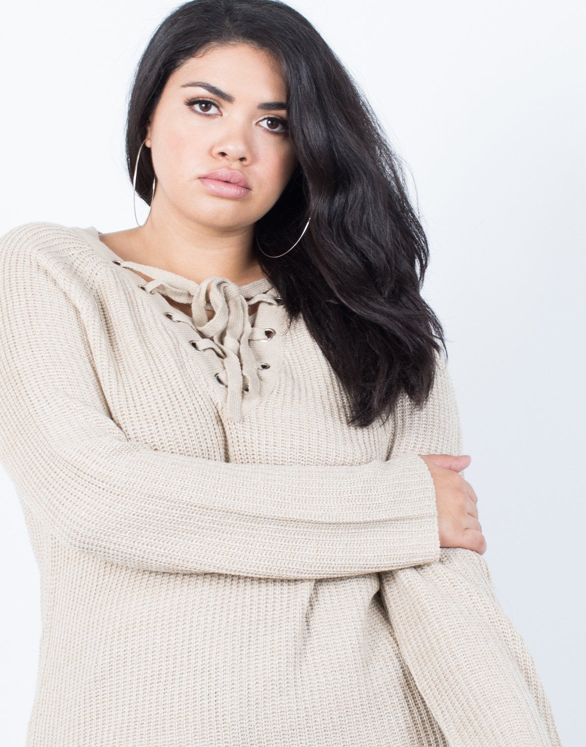 Plus Size Laced Up Sweater - 2020AVE