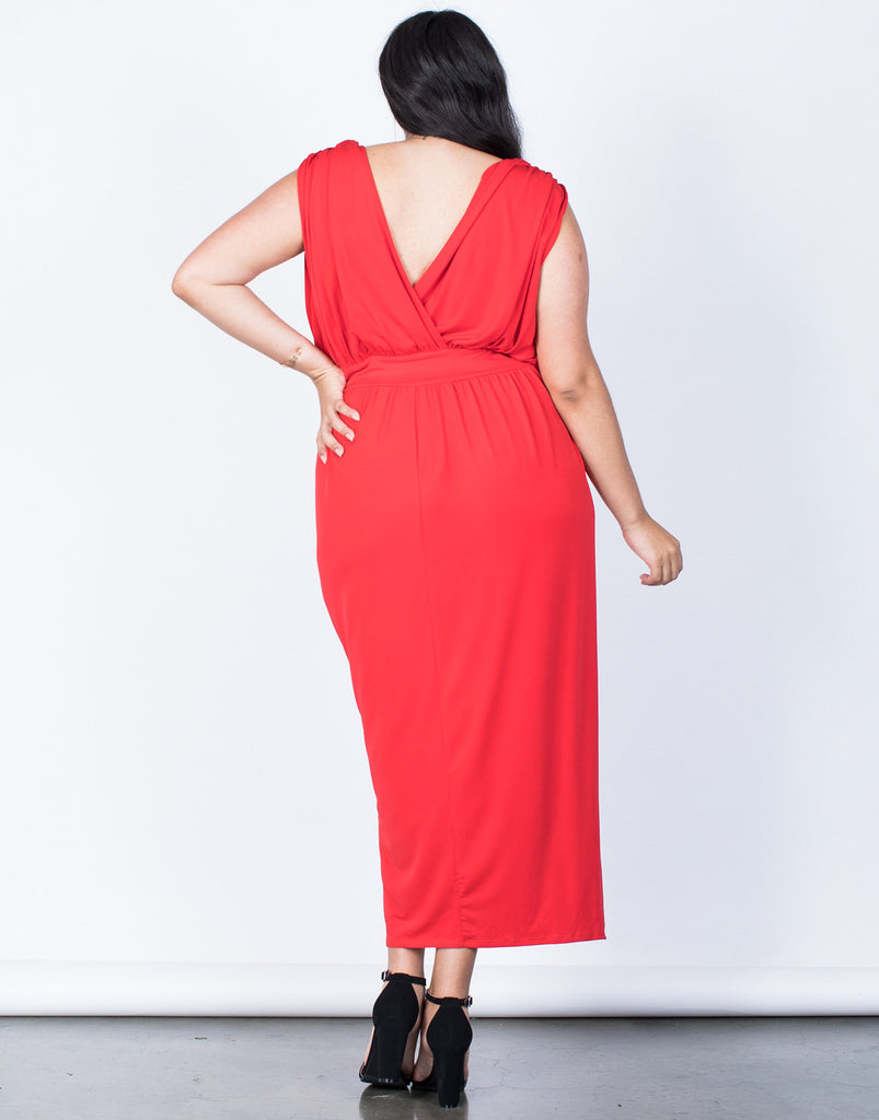 Back View of Plus Size Lady in Red Dress