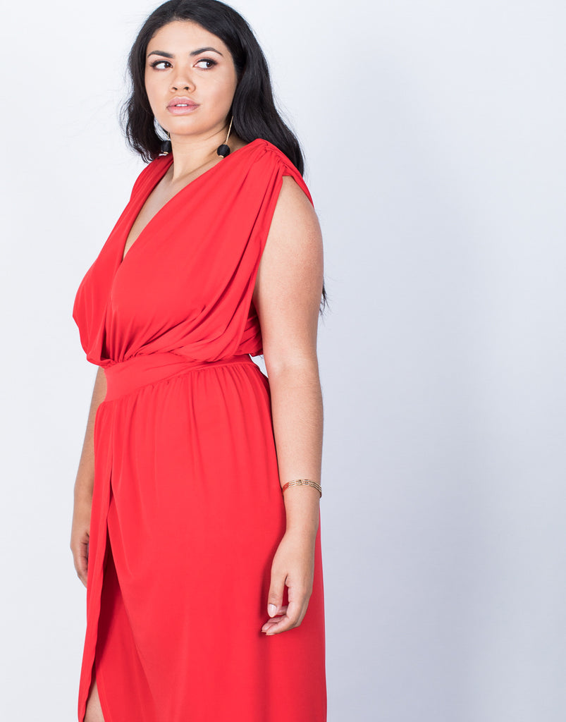 Detail of Plus Size Lady in Red Dress