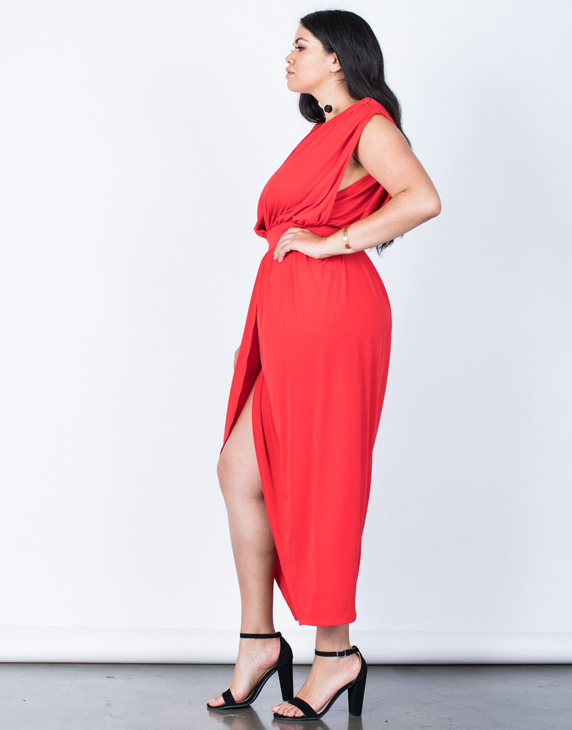 Side View of Plus Size Lady in Red Dress