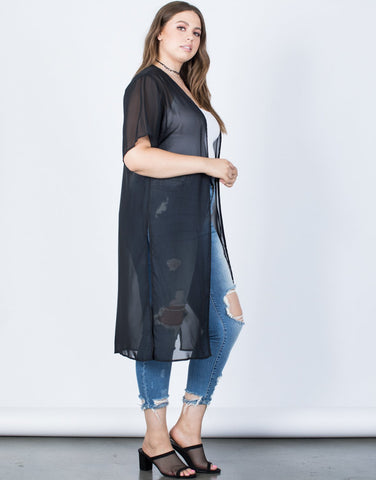 Plus Size Layer Up Sheer Cardigan - 2020AVE
