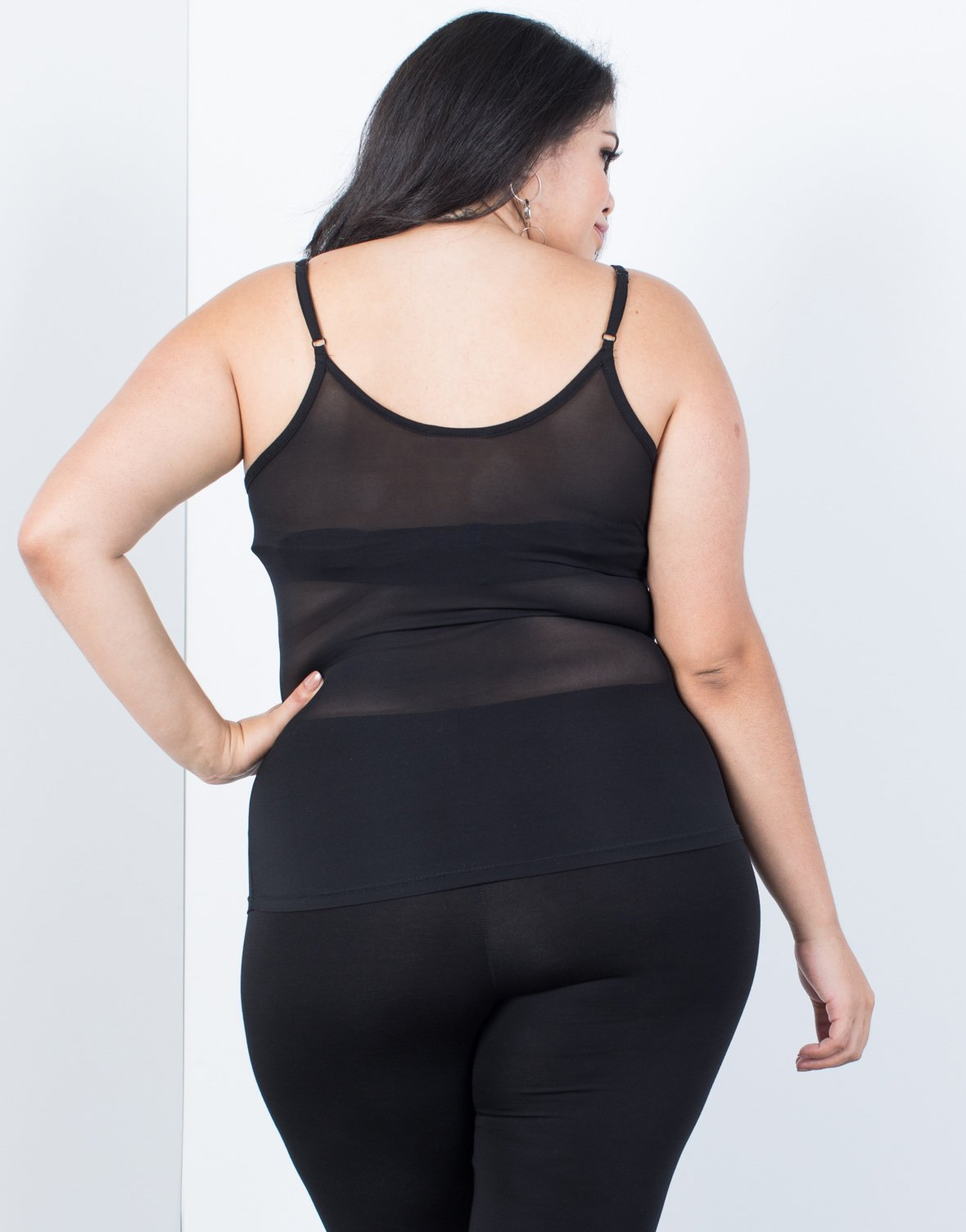 Plus Size Lined Up Mesh Cami - 2020AVE