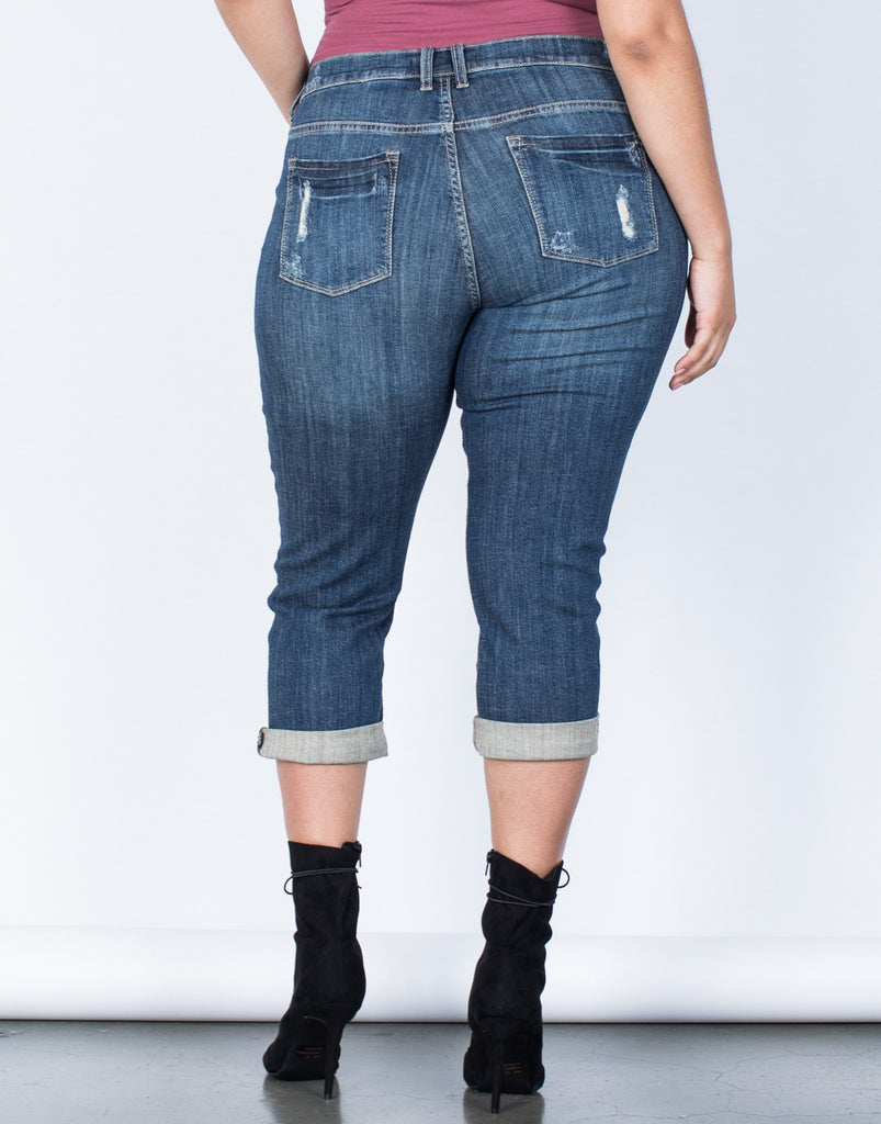 Back View of Plus Size Love Your Capri Jeans