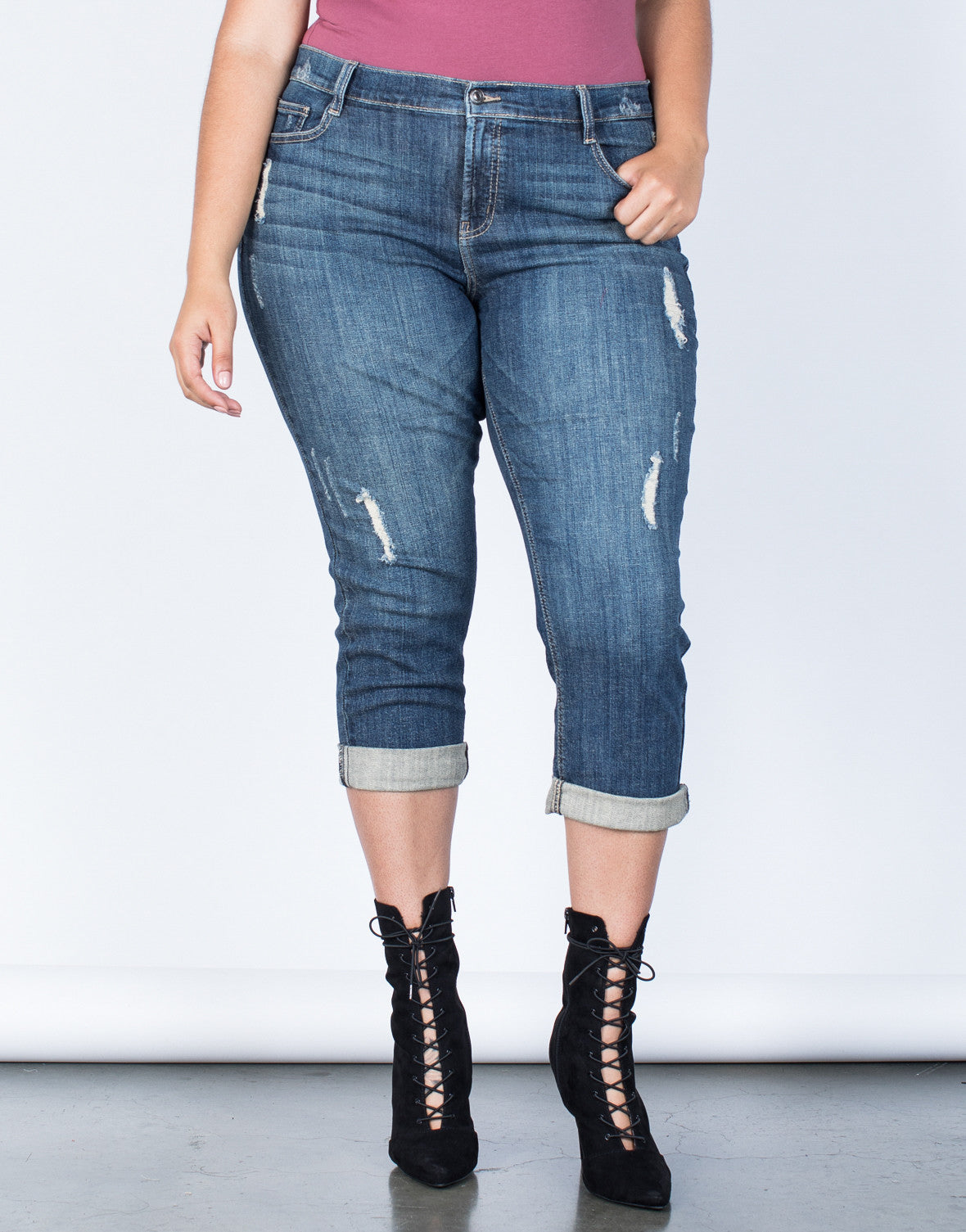 Front View of Plus Size Love Your Capri Jeans