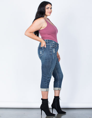 Side View of Plus Size Love Your Capri Jeans