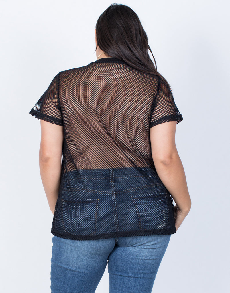 Black Plus Size Netted Athletic Top - Back View