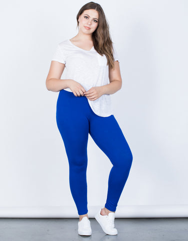 Royal Blue Plus Size On the Go Leggings - Front View