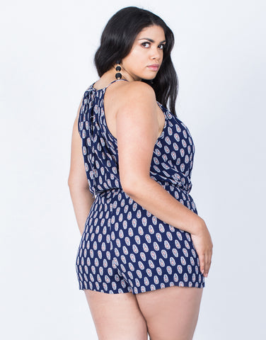 Back View of Plus Size Crazy for Paisley Romper
