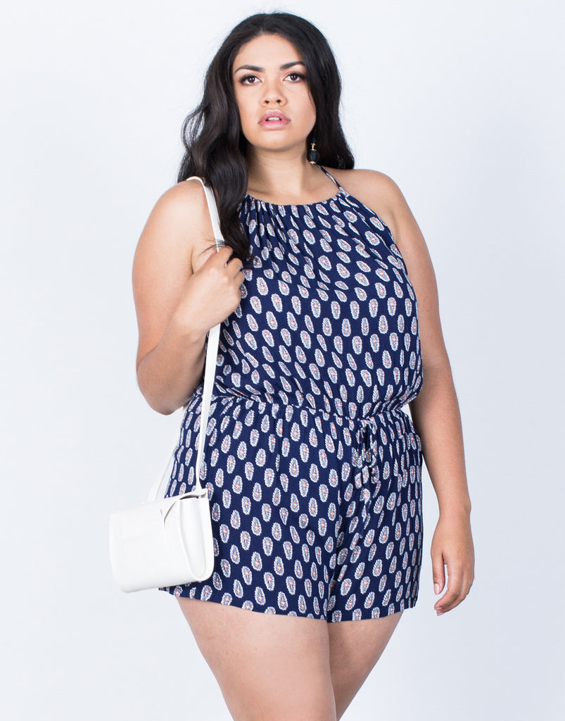 Front View of Plus Size Crazy for Paisley Romper