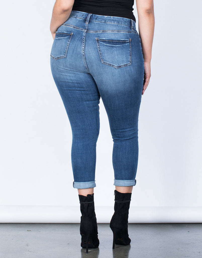 Back View of Plus Size Perfect Stretch Jeans