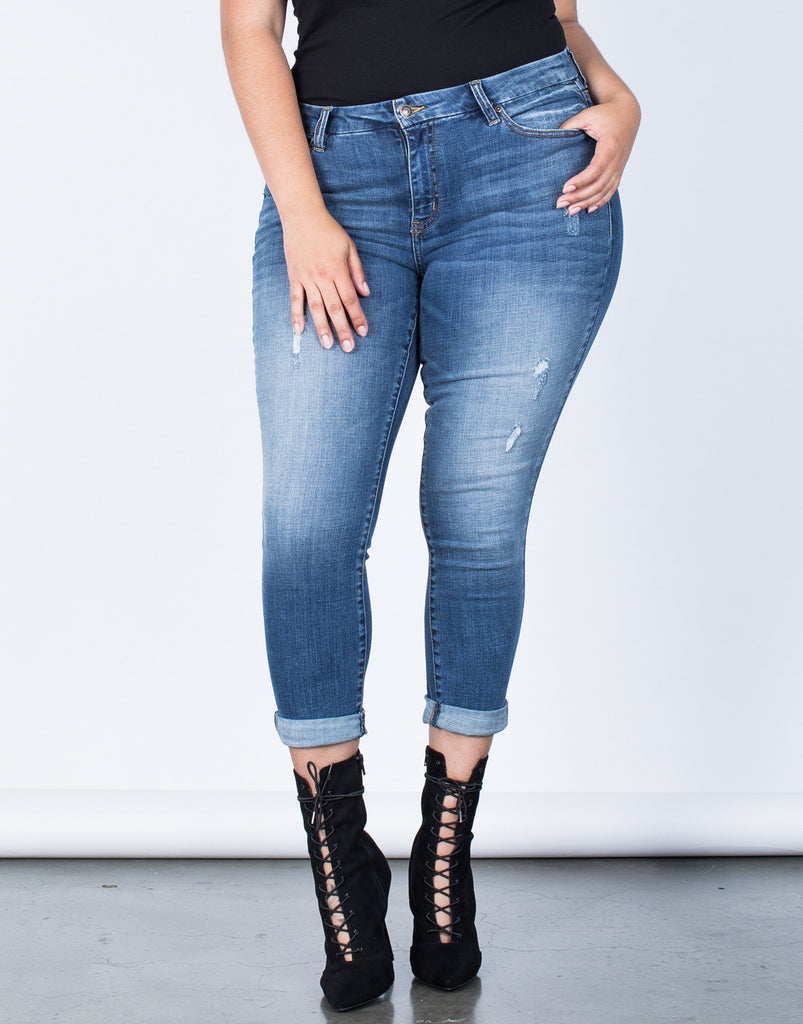 Front View of Plus Size Perfect Stretch Jeans