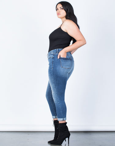 Side View of Plus Size Perfect Stretch Jeans
