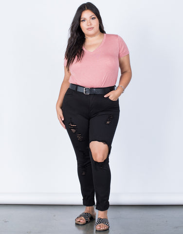 Plus Size Perfectly Destroyed Jeans - 2020AVE