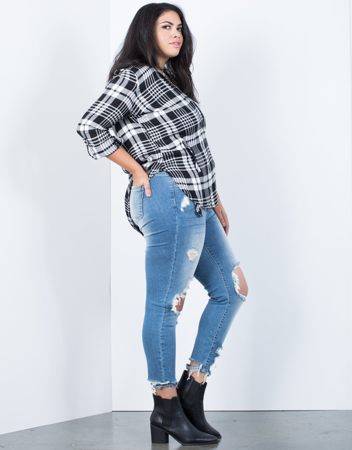 Plus Size Plaid Days Top - 2020AVE