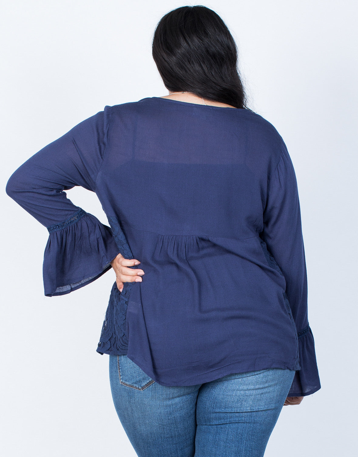 Back View of Plus Size Ring the Bell Top
