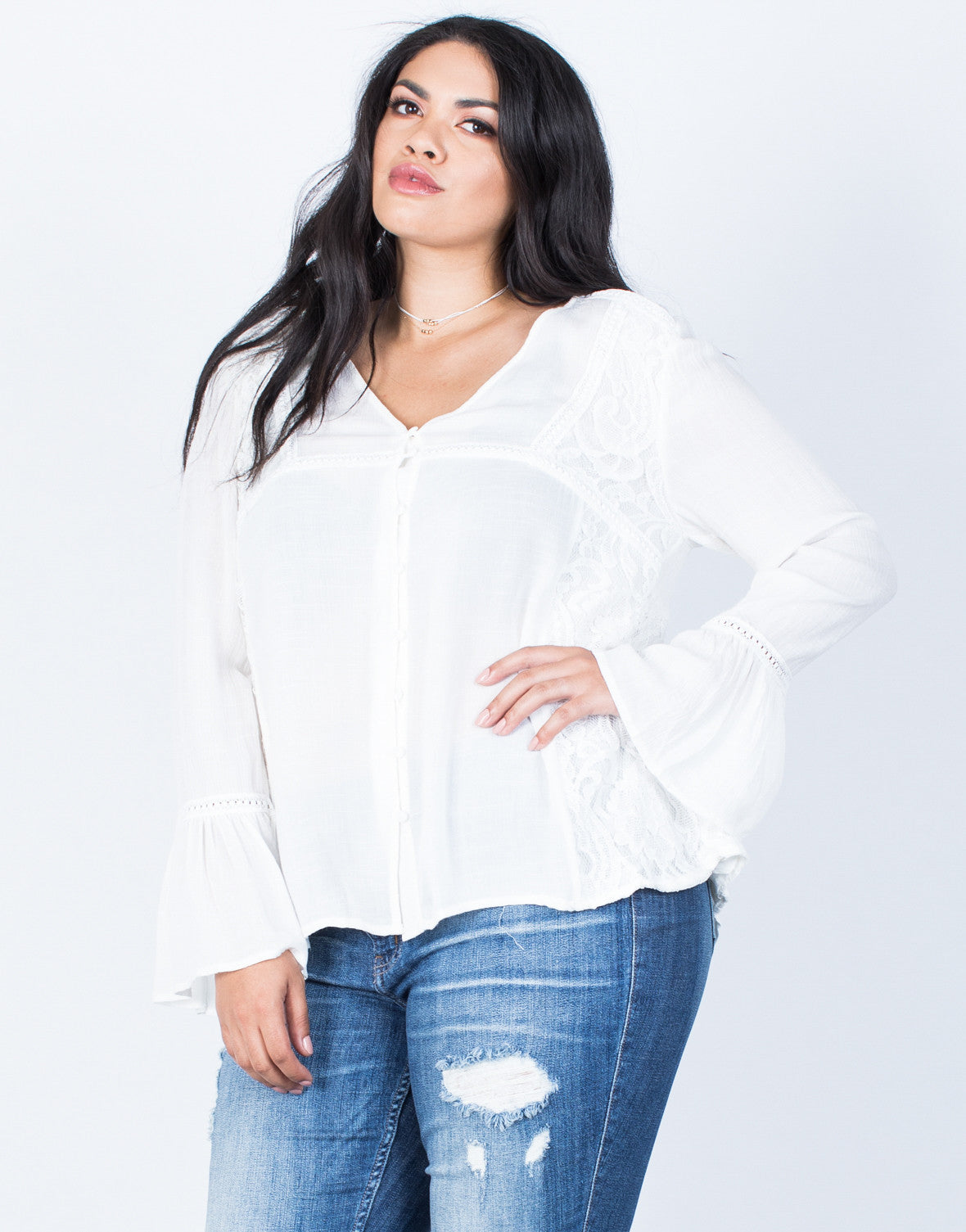 Front View of Plus Size Ring the Bell Top