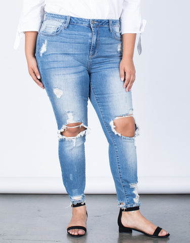 Blue Denim Plus Size Ripped Hem Jeans - Front View
